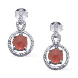 Argentinian Rhodochrosite (Rnd), Diamond Earrings in Platinum Overlay Sterling Silver 3.260 Ct.