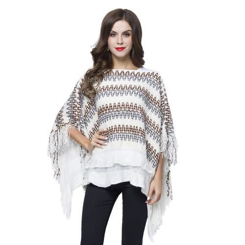 Grey, White and Multi Colour Zigzag Pattern Poncho with Tassels (Free Size)
