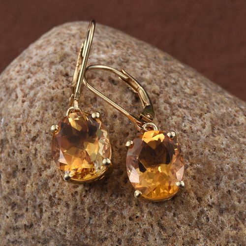 Citrine (Ovl) Lever Back Earrings in 14K Gold Overlay Sterling Silver 6.750 Ct.