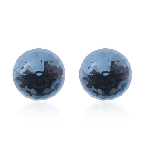 J Francis Crystal from Swarovski - Aquamarine Colour Crystal Stud Earrings (with Push Back) in Platinum Overlay Sterling Silver
