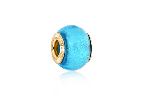 Close Out Deal 9K Y Gold Turquoise Colour Murano Glass Bead Charm