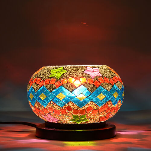 Natural Himalayan Rock Salt in Blue, Red and Multi Colour Diamond Pattern Mosaic Electric Lamp (With 1.5KG Salt Crystal Pack)