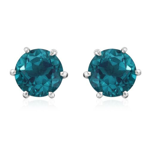 Capri Blue Quartz (Rnd) Stud Earrings (with Push Back) in Platinum Overlay Sterling Silver 8.250 Ct.
