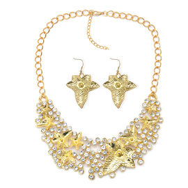 Simulated White Stone Necklace (Size 18 with 2 inch Extender) and Hook Earrings in Gold Tone