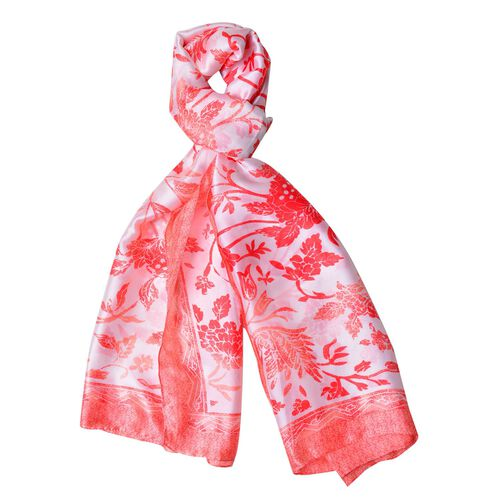 Red and White Colour Floral Pattern Scarf (Size 180X90 Cm)