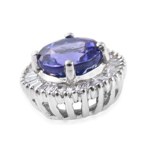 RHAPSODY 950 Platinum AAAA Tanzanite (Rnd 1.00 Ct), Diamond (VS/ E-F) Pendant 1.250 Ct.