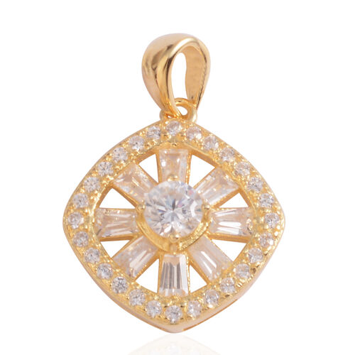 JCK Vegas Collection ELANZA AAA Simulated Diamond (Rnd) Pendant in 14K Gold Overlay Sterling Silver