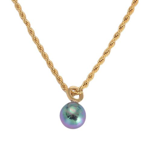 Peacock Plastic Pearl Necklace (Size 24) in ION Plated Yellow Gold Stainless Steel