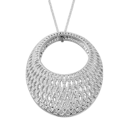 Platinum Overlay Sterling Silver Pendant With Chain, Silver wt 12.50 Gms.