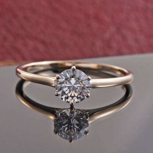 9K Y Gold (Rnd) Solitaire Ring Made with SWAROVSKI ZIRCONIA