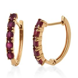 African Ruby Hoop Earrings in Gold Plated Silver 2.25 Ct