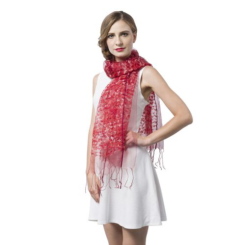 Red and White Colour Small Tassel Flowers Embellished Scarf (Size 160X65 Cm)