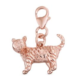 Engraved Cat Charm in Rose Gold Plated 925 Sterling Silver