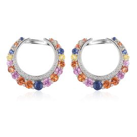Designer Inspired- AAA Rainbow Sapphire Earrings (with Clasp) in Rhodium Plated Sterling Silver 4.850 Ct. Silver wt 6.80 Gms.