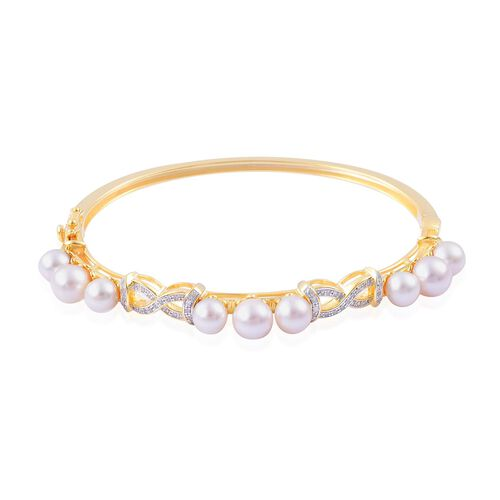 Japanese Akoya Pearl (Rnd), White Zircon Bangle (Size 7) in 14K Gold Overlay Sterling Silver