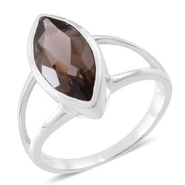 Brazilian Smoky Quartz (Mrq) Solitaire Ring in Rhodium Plated Sterling Silver 3.500 Ct. Silver wt 3.90 Gms.