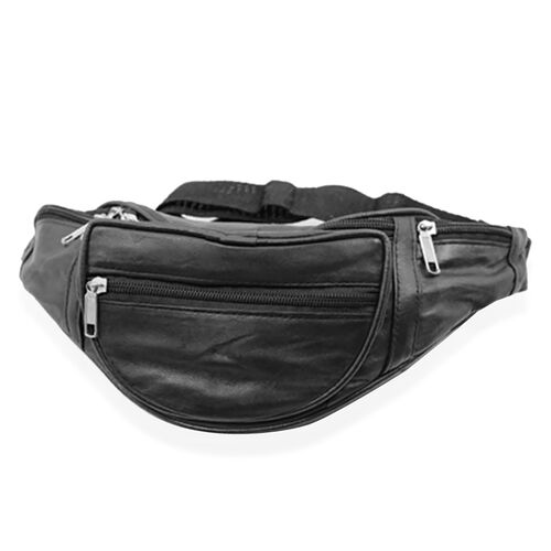 100% Genuine Leather Black Colour Bum Bag with External Zipper Pocket