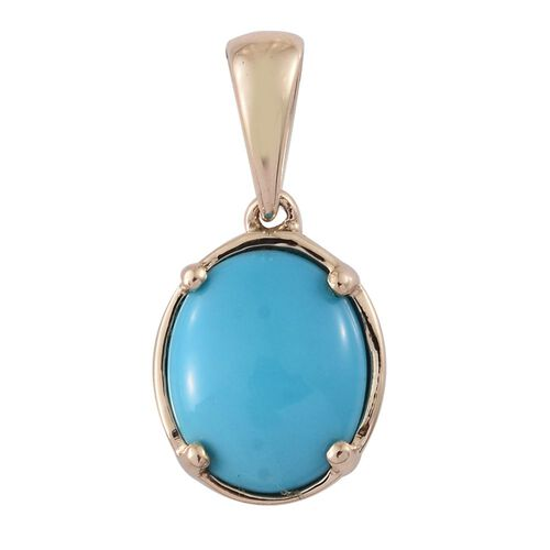 9K Yellow Gold AAA Arizona Sleeping Beauty Turquoise (Ovl) Solitaire Pendant 2.500 Ct.