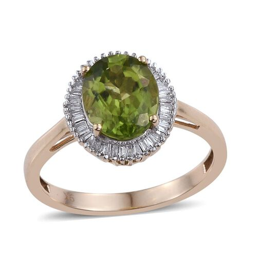 9K Y Gold AAA Hebei Peridot (Ovl 2.80 Ct), Diamond Ring 3.000 Ct.