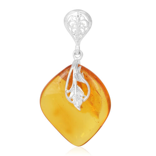 Amber Pendant in Rhodium Plated Sterling Silver 15.000 Ct.