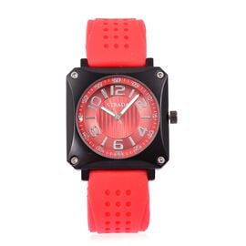 STRADA Japanese Movement Sunshine Dial Watch in Black Tone with Stainless Steel Back and Red Silicone Strap