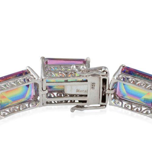 Rainbow Genesis Quartz (Oct) Bracelet in Platinum Overlay Sterling Silver (Size 8) 100.000 Ct.