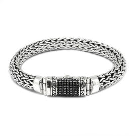 Limited Edition -Designer Inspired Boi Ploi Black Spinel (Rnd) Snake Weave Bracelet (Size 7.5) in Sterling Silver No of Gemstones 75pcs/ Silver wt 45.09 Gms.