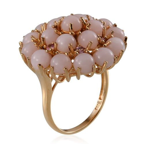 Peruvian Pink Opal (Rnd), Pink Tourmaline Floral Ring in Yellow Gold Overlay Sterling Silver 8.750 Ct.