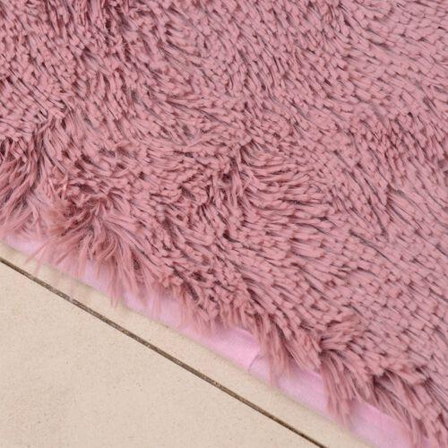 Super-Plush Extra-Long Pile Dusk Pink Colour YETI Bed-Side Rug (Size 140x70 Cm)