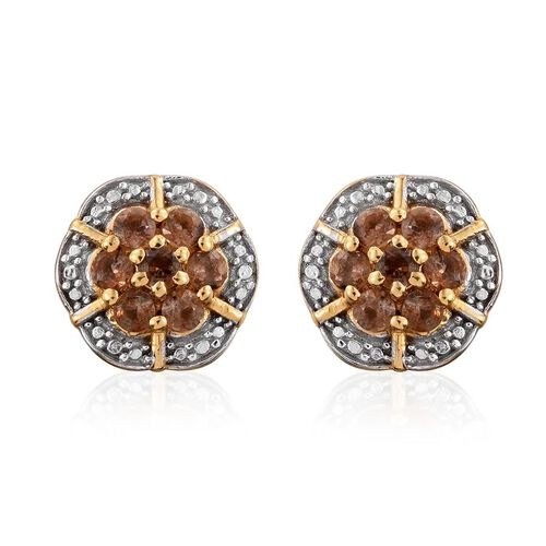 Brazilian Andalusite (Rnd) Floral Stud Earrings (with Push Back) in 14K Gold Overlay Sterling Silver 1.000 Ct.