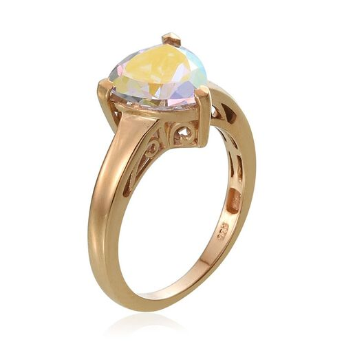 Mercury Mystic Topaz (Trl) Solitaire Ring in 14K Gold Overlay Sterling Silver 4.000 Ct.