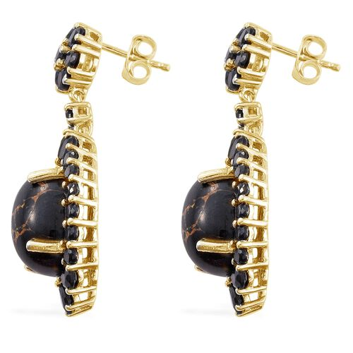 Arizona Mojave Black Turquoise (Ovl), Boi Ploi Black Spinel Earrings (with Push Back) in 14K Gold Overlay Sterling Silver 19.000 Ct.