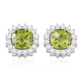 9K W Gold AAAA Hebei Peridot (Cush), Natural Cambodian White Zircon Stud Earrings (with Push Back) 5.750 Ct.