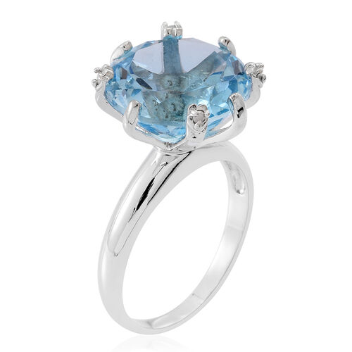 AAA Rare Size Sky Blue Topaz (Rnd), Diamond Ring in Rhodium Plated Sterling Silver 15.000 Ct.