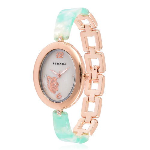 STRADA Japanese Movement White Austrian Crystal Studded MOP Dial Watch in Rose Gold Tone with Stainless Steel Back and Green Colour Strap
