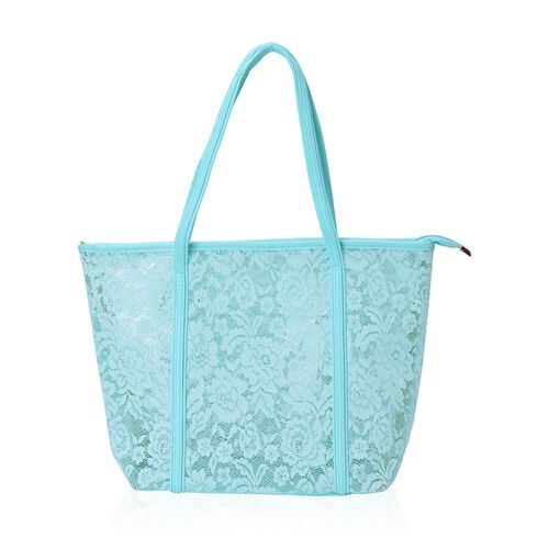 Limited Edition - Set of 2 - Turquoise Lace Pattern Handbag (Size 44X30X13.5 Cm) and Pouch (Size 25X19X7 Cm)
