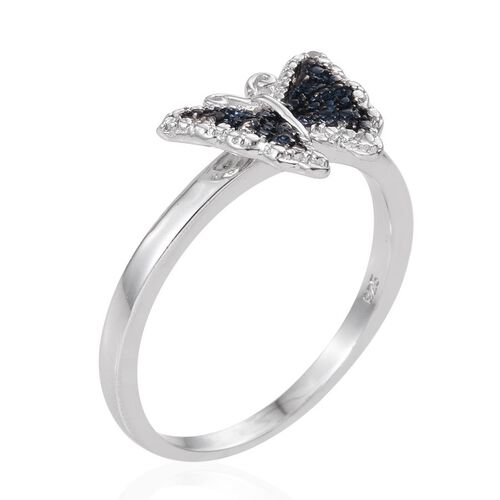 Blue Diamond (Rnd), White Diamond Butterfly Ring in Platinum Overlay Sterling Silver