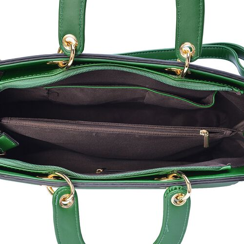 Green Colour Snake Embossed Tote Bag with Adjustable and Removable Shoulder Strap (Size 37x27x13 Cm)