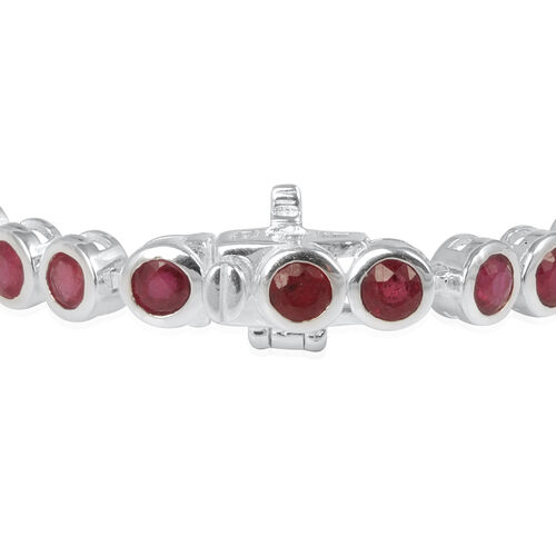 African Ruby (Rnd) Bracelet (Size 8) in Rhodium Plated Sterling Silver 11.250 Ct.