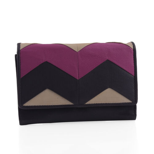 Genuine Leather RFID Blocker Rich Plum Colour Wallet (Size 15X10 Cm)