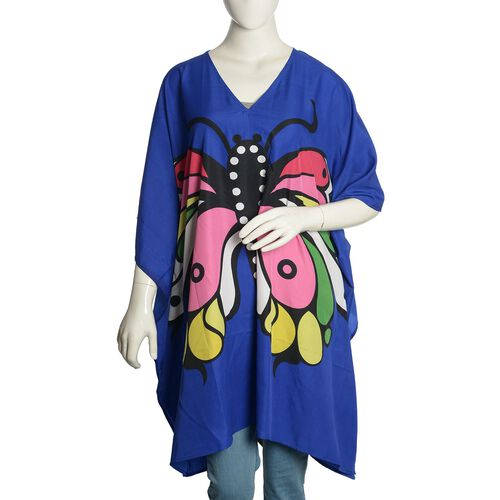 Multi Colour Butterfly Printed Blue Colour Kaftan (Free Size)