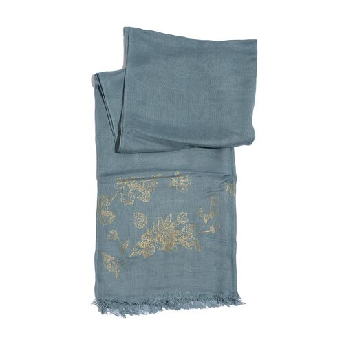 Set of 3 - Grey, Teal and Burgundy Colour with Gold Colour Printed Woven Scarf (Size 175x55 Cm)