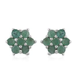Kagem Zambian Emerald (Rnd) Floral Stud Earrings (with Push Back) in Platinum Overlay Sterling Silver 1.250 Ct.