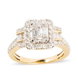14K Yellow Gold Diamond (Bgt and Rnd) (I1-I2/G-H) Ring  1.000  Ct.