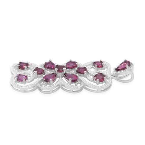Rhodolite Garnet (Rnd) Pendant in Rhodium Plated Sterling Silver 6.500 Ct.