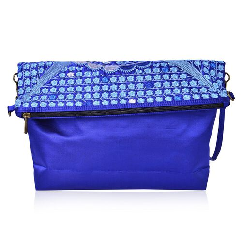 Shanghai Collection Blue Colour Floral Embroidered Clutch or Sling Bag with Removable Shoulder Strap (Size 34X32X7 Cm)