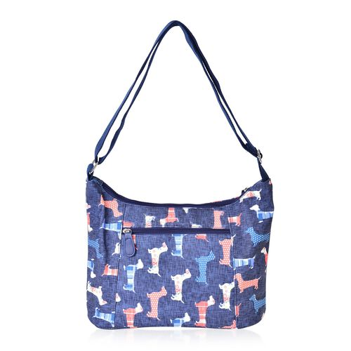 Blue and Multi Colour Cute Dog Pattern Crossbody Water Resistant Bag with Multi Pockets and Adjustable Strap (Size 33x22x11)