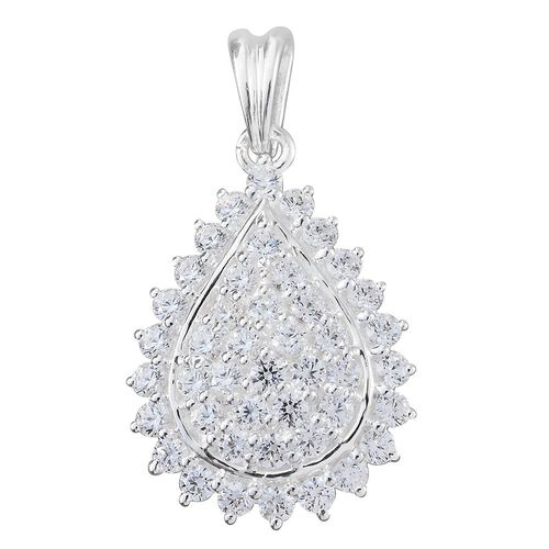 J Francis - Sterling Silver (Rnd) Pendant Made with SWAROVSKI ZIRCONIA