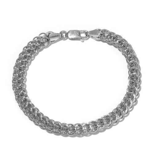 Vicenza Collection Rhodium Plated Sterling Silver Bracelet (Size 8), Silver wt 18.05 Gms.