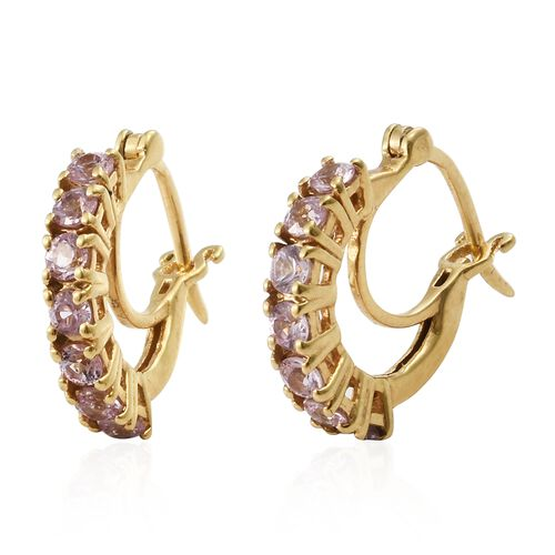 Pink Sapphire Hoop Earrings (with Clasp) in Gold Plated Silver 1.25 Ct